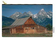 Carry-all Pouch featuring the photograph Barn And Tetons by Jerry Fornarotto