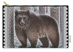 Bear Vintage Postage Stamp Print Carry-all Pouch