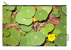 Beautiful Round Green Leaves Of A Plant With Orange Flowers Carry-all Pouch by Ashish Agarwal