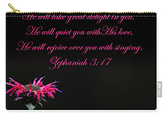 Carry-all Pouch featuring the photograph Bee Balm And Bible Verse by Randall Branham
