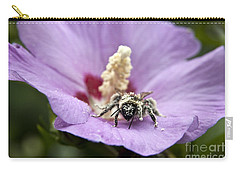 Carry-all Pouch featuring the photograph Bee Covered In Pollen  by Jeannette Hunt
