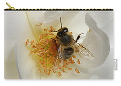 Bee In A White Rose Carry-all Pouch by Lainie Wrightson
