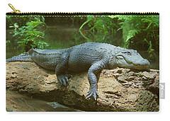Big Gator On A Log Carry-all Pouch by Myrna Bradshaw
