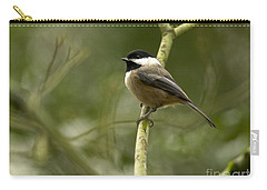 Black-capped Chickadee With Branch Bokeh Carry-all Pouch by Sharon Talson