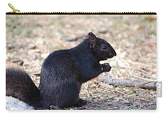 Carry-all Pouch featuring the photograph Black Squirrel Of Central Park by Sarah McKoy
