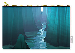 Carry-all Pouch featuring the digital art Blue Canyon River by Phil Perkins