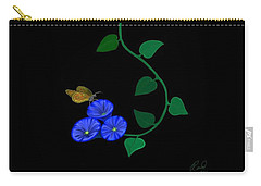 Blue Flower Butterfly Carry-all Pouch