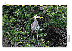 Carry-all Pouch featuring the photograph Blue Heron In Tree by Dan Friend