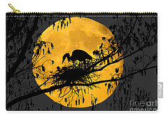 Carry-all Pouch featuring the photograph Blue Heron On Roost by Dan Friend