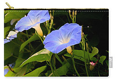 Carry-all Pouch featuring the photograph Blue Morning Glories by Kay Novy