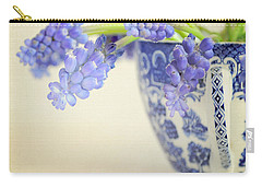Blue Muscari Flowers In Blue And White China Cup Carry-all Pouch by Lyn Randle