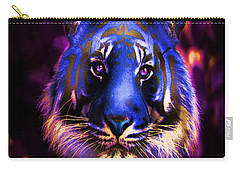 Carry-all Pouch featuring the photograph Blue Tiger Of The Purple Forest by George Pedro