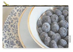 Blueberries In Blue And White China Bowl Carry-all Pouch by Lyn Randle