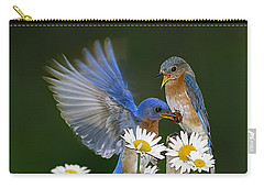 Carry-all Pouch featuring the photograph Bluebirds Picnicking In The Daisies by Randall Branham