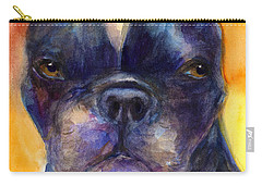 Boston Terrier Dog Portrait Painting In Watercolor Carry-all Pouch