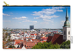 Carry-all Pouch featuring the photograph Bratislava Roofs by Les Palenik
