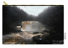 Carry-all Pouch featuring the photograph Bull Elk In Front Of Waterfall by Dan Friend