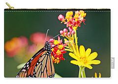 Butterfly Monarch On Lantana Flower Carry-all Pouch by Luana K Perez