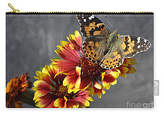 Carry-all Pouch featuring the photograph Butterfly On A Gaillardia by Verana Stark