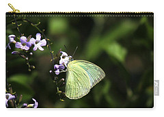 Carry-all Pouch featuring the photograph Butterfly On Purple Flower by Ramabhadran Thirupattur