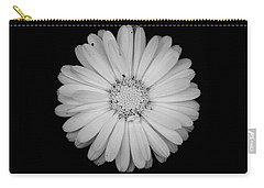 Calendula Flower - Black And White Carry-all Pouch