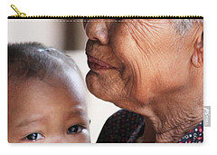 Carry-all Pouch featuring the photograph Cambodian Grandmother And Baby #1 by Nola Lee Kelsey