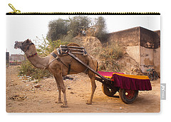 Carry-all Pouch featuring the photograph Camel Yoked To A Decorated Cart Meant For Carrying Passengers In India by Ashish Agarwal