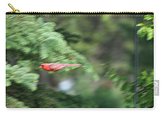 Carry-all Pouch featuring the photograph Cardinal In Flight by Thomas Woolworth