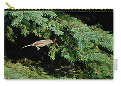Carry-all Pouch featuring the photograph Cardinal Just A Hop Away by Thomas Woolworth
