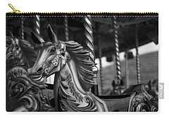 Carry-all Pouch featuring the photograph Carousel Horses Mono by Steve Purnell