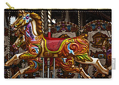 Carry-all Pouch featuring the photograph Carousel Horses by Steve Purnell