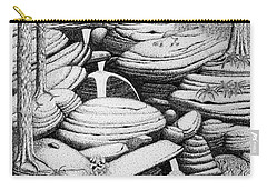 Carry-all Pouch featuring the drawing Cascade In Boulders by Daniel Reed