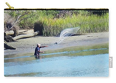 Casting For Shrimp At Hunting Island Carry-all Pouch by Patricia Greer