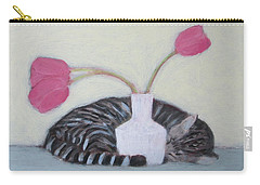 Cat And Tulips Carry-all Pouch