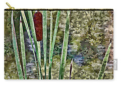 Carry-all Pouch featuring the photograph Cattails Along The Pond by Don Schwartz