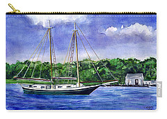 Carry-all Pouch featuring the painting Cedar Beach Schooner by Clara Sue Beym