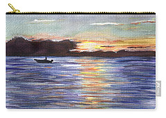 Carry-all Pouch featuring the painting Chesapeake Dusk Boat Ride by Clara Sue Beym