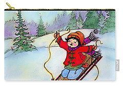 Carry-all Pouch featuring the painting Christmas Joy Child On Sled by Glenna McRae