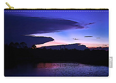 Carry-all Pouch featuring the photograph Clouded Sunset Over The Tomoka by DigiArt Diaries by Vicky B Fuller
