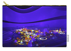 Computer Generated Blue Abstract Fractal Flame Modern Art Carry-all Pouch by Keith Webber Jr