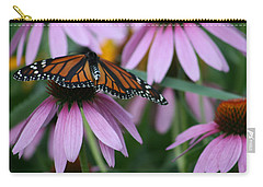 Carry-all Pouch featuring the photograph Cone Flowers And Monarch Butterfly by Kay Novy