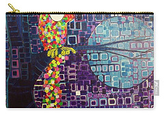 Carry-all Pouch featuring the painting Confetti Bird by Donna Howard