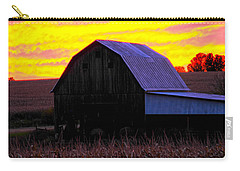 Carry-all Pouch featuring the photograph Cornfield Barn Sky by Randall Branham