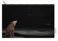 Carry-all Pouch featuring the photograph Coyote Howling At Moon by Dan Friend