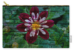 Crazy Flower Over Brick Carry-all Pouch by Eric Liller