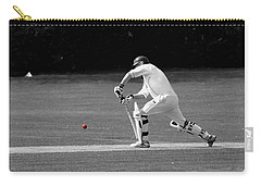 Cricketer In Black And White With Red Ball Carry-all Pouch