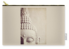 Cropped Stone Buddha Head Statue Carry-all Pouch by Lyn Randle