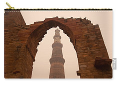 Cross Section Of The Qutub Minar Framed Within An Archway In Foggy Weather Carry-all Pouch by Ashish Agarwal