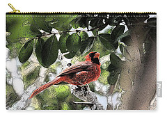 Carry-all Pouch featuring the photograph Daddy Cardinal by Donna G Smith
