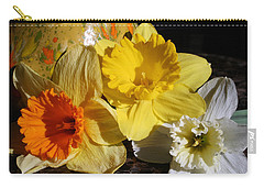 Carry-all Pouch featuring the photograph Daffodil Threesome by Kay Novy